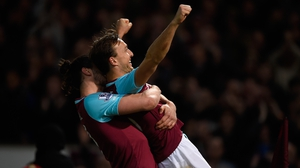 Mark Noble celebrates with Andy Carroll