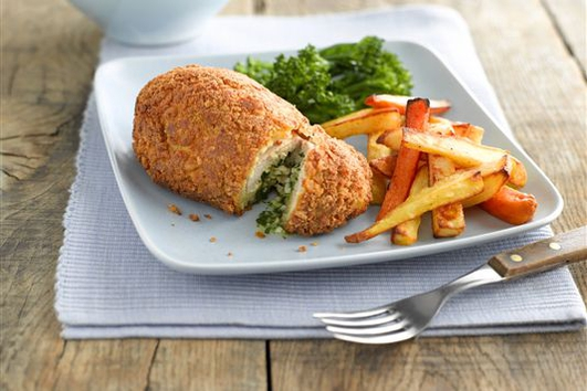 Nevens Recipes - Chicken Kiev with sweet potato chips.