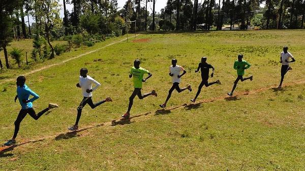 Kenyan athletes training in the Rift Valley
