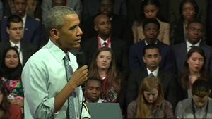Barack Obama was speaking at a town hall event in London