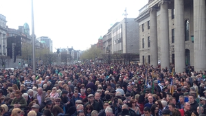Large crowds gathered outside the GPO from early morning
