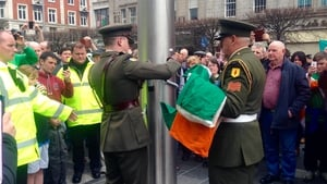 The Defence Forces raised the tricolour on O'Connell Street