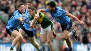 Dublin's Paul Flynn and Cian O'Sullivan with Stephen O'Brien of Kerry during the Division 1 final