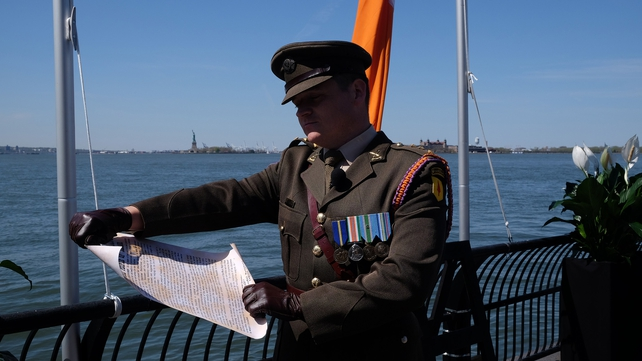 Proclamation of Independence is read during an event to mark the Rising in New York