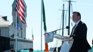 Minister for the Environment Alan Kelly speaks at an event in New York to commemorate the Rising