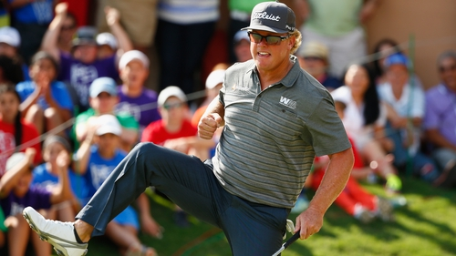 Hoffman celebrates a bunker shot on his way to Texas victory