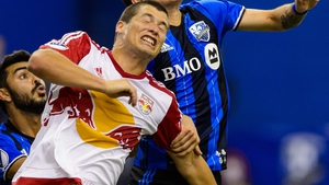Karl Ouimette had a busy afternoon for the Red Bulls