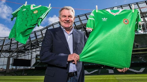 Ray Houghton promoting SSE Airtricity's #PowerOfGreen summer football campaign at Aviva Stadium