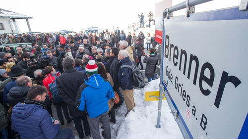 Protesters at a rally against increased border controls at the Austrian-Italian border crossing