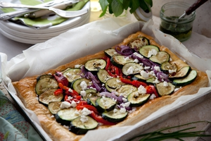 Courgette, Feta and Chive Tart