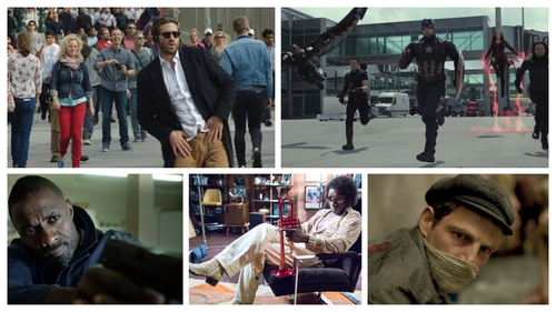 Clockwise from top left: Demolition, Captain America: Civil War, Son of Saul, Miles Ahead, Bastille Day