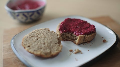Peanut Butter Scones with Raspberry Chia Jam