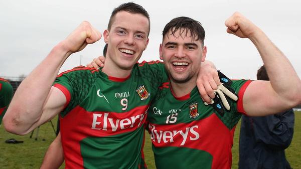 Stephen Coen (L) celebrates with Fionan Duffy
