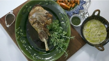 Rory's recipe of a roast leg of lamb with mint relish.