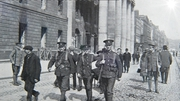 Loyal Volunteers outside the GPO (Pic: David Knight from contemporary study 'Dublin After the Six Days Insurrection')