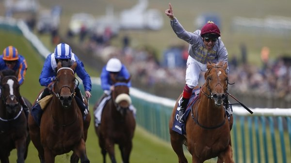 Frankie Dettori takes the plaudits as he crosses the winning line