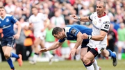 Ulster's Ruan Pienaar is challenged by Rob Kearney which led to a penalty try and a yellow card for the Leinster full-back