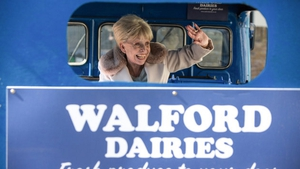 She's back! Peggy Mitchell returns to The Square on a milk float