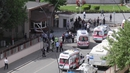 Ambulances descend on the police headquarters in the southeastern Turkish city of Gaziantep