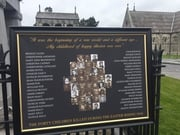 Plaque commemorates the deaths of the 40 children who lost their lives