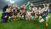 The Ireland team celebrate with the Cormac McAnallen Cup last November