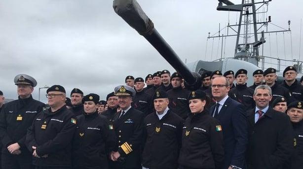 Minister Coveney and the crew of the LÉ Róisín