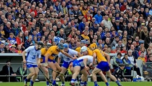 Clare and Waterford played out the first reply in a league final since 1993