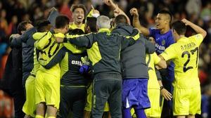 Villarreal celebrate making the Champions League