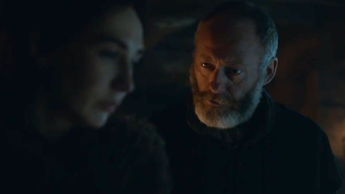 Davos and Melisandre right before the magic happens!