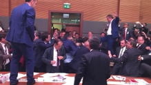 Several MPs were seen jumping onto tables