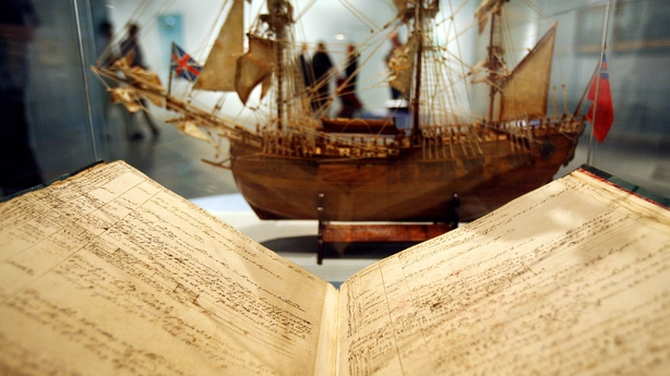 James Cook's logbook seen at an exhibition in Germany