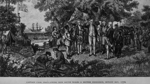 Captain James Cook proclaims New South Wales a British possession, with the Endeavour seen in the background
