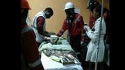 Doctors treat the baby who was pulled alive from the rubble of a collapsed building (Pic: Bonny Odhiambo/Kenya Red Cross)