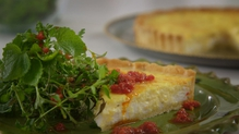 Enjoy a delicious and healthy goat's cheese and thyme tart with tomato oil