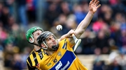 Clare's John Conlon battles with Joey Holden of Kilkenny