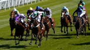 No Heretic (Pink and green, centre) wins the Chester Cup after a photo-finish