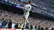 Gareth Bale celebrates his goal against Manchester City at the Bernabeu
