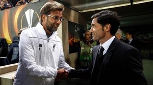 Villarreal's Marcelino shakes hands with Liverpool boss Jurgen Klopp before their sides' Europa League semi-final first leg