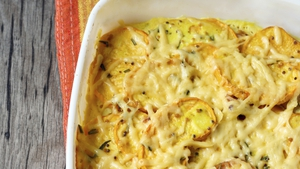 Gratin of Swede Turnips, Potatoes, Bacon and Parmesan.