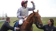 Frankie Dettori celebrates after riding Galileo Gold to win The Qipco 2000 Guineas Stakes at Newmarket