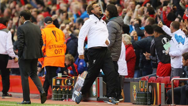 Jurgen Klopp celebrates Liverpool's first goal against Villarreal at Anfield