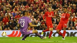 Daniel Sturridge scores Liverpool's second goal at Anfield
