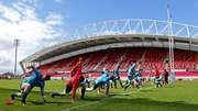 Munster squad in a training session at Thomond Park ahead of Saturday's crunch encounter