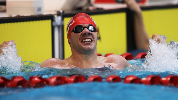 Para swimmer Josef Craig was banned from a race because of a tattoo, just visible here on his chest above the water