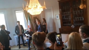 Nicky Byrne at the Irish Embassy in Stockholm