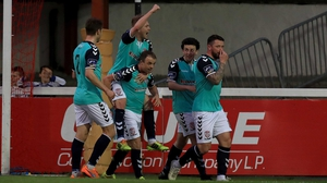 Derry City celebrate Barry McNamee's goal