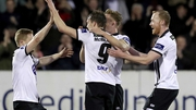 David McMillan celebrates with his team-mates