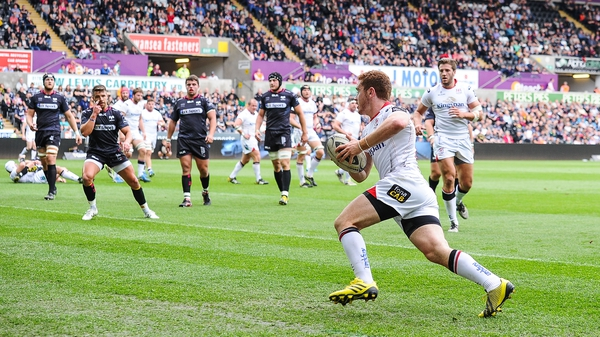 Paddy Jackson in possession for Ulster