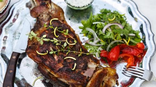 A delicious roast shoulder of lamb