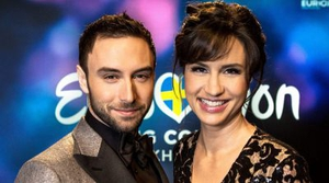 You're so last year! 2015's winning singer Måns Zelmerlöw and Petra Mede are your hosts